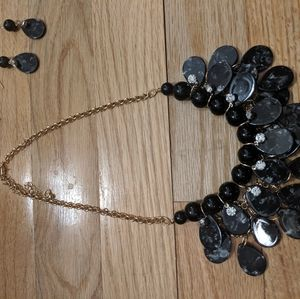 Black necklace with matching earrings